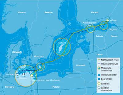 Trazado del gasoducto Nord Stream