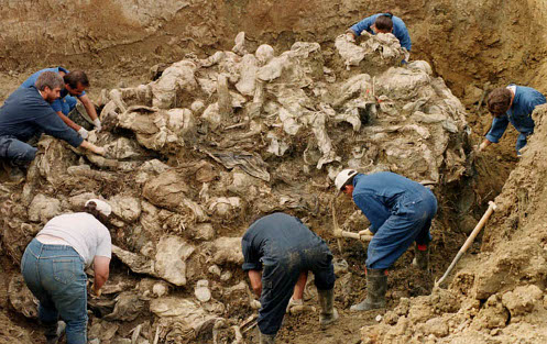 Unos hombres sacan restos de una fosa