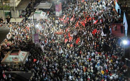 Multitudinario mitin de campaña de Syriza