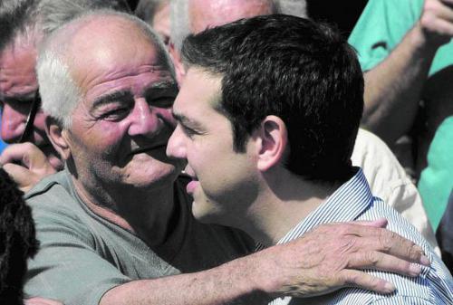 Alexis Tsipras, con seguidores de su partido