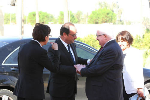 Hollande y Massoum en Irak